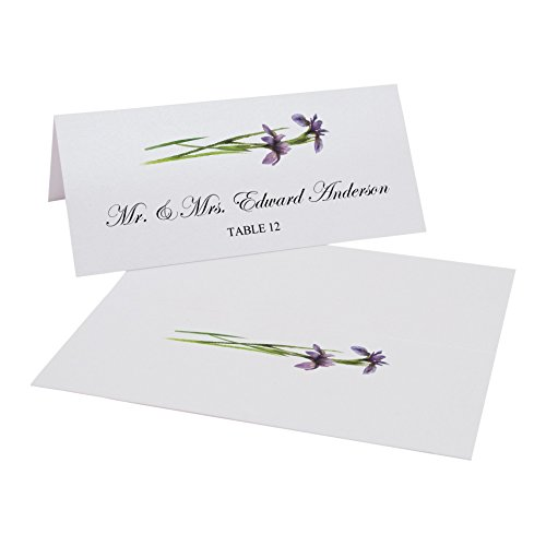Documents and Designs Wispy Purple Iris Flowers Easy Print Place Cards, Set of 60 (10 Sheets)