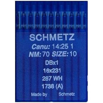 La Canilla ® - 10 Agujas para Máquina de Coser Industrial Schmetz DBx1 1738(A) 16x231 Grosor 70/10 Pistón Redondo: Amazon.es: Hogar