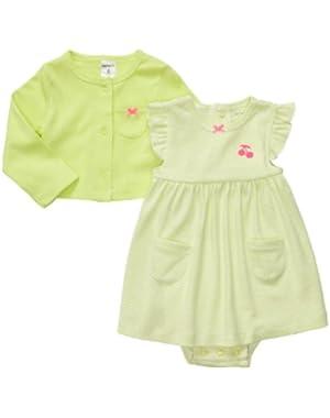 Baby Girls' Cherry Blossom 2-piece Bodysuit Dress Set