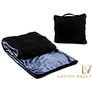 Fleece Travel Blanket-Portable Airline Blanket, For Airplane, Car, Train Travel – Incredibly Soft & Comfortable – Compact and Easy to Carry Design -Must Have Travel Accessories No Shedding Fleece