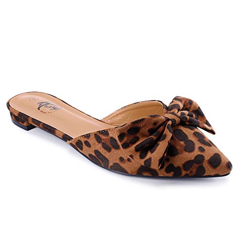 Trary Women's Pointy Toe and Bow Flat Mule Slide Leopard 10