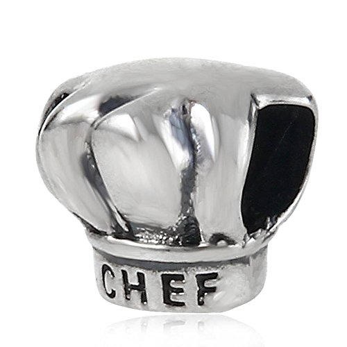 Hat Sterling Silver Charm (Choruslove I Love Cooking Chef Hat Charm 925 Sterling Silver Bead for European Brand Bracelet)