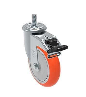 "Schioppa GLEHF 512 UPE G L12 Series 5"" x 1-1/4"" Diameter Swivel Caster with Total Lock Brake, Non-Marking Polyurethane Precision Ball Bearing Wheel, 12 mm Diameter x 40 mm Length Threaded Stem, 325 lb"