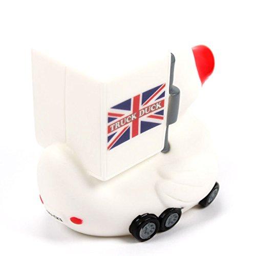 TRUCK DUCK/® Original Truck Duck Figur Trucker LKW Auto Fahrer Ente mit United Kingdom UK Flagge Fahne Wimpel