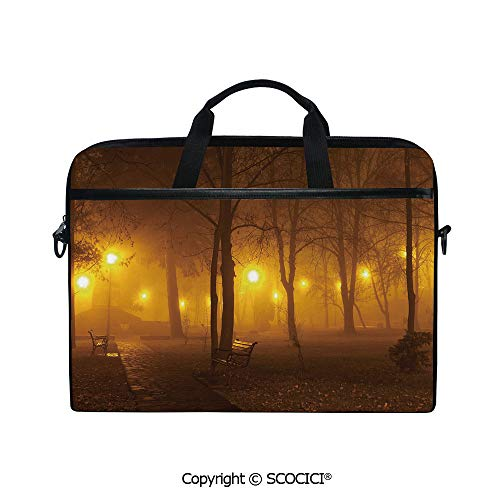 Portable Ultrabook Soft Sleeve Laptop Bag Case Cover Foggy Evening in The Park Autumn Season Nature Outdoors Misty Peaceful View Compatible with HP Dell Lenovo