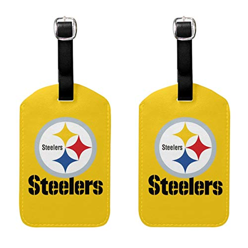 - MamaTina Custom PU Leather Luggage Tag Pittsburgh Steelers Suitcase Labels ID Tags 2 Pcs Set for Bags & Baggage
