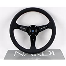 Nardi Steering Wheel - Deep Corn - 330mm (12.99 inches) - Black Perforated Leather with Red Stitching - Classic Horn Button - Part # 6069.33.2093 by NARDI