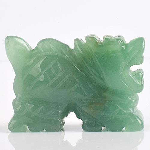 DAVITU Dragon Sculptures 2 inch Natural Jade Carved Stone Animal Figurine for Home Fengshui Office Decor Natural Stone Statue Fun Toys - (Color: Light Green)