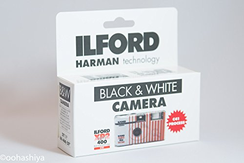 White Disposable Black Camera - Ilford XP2 Super Single Use Camera with Flash (27 Exposures) Black and White Film CAT1174186