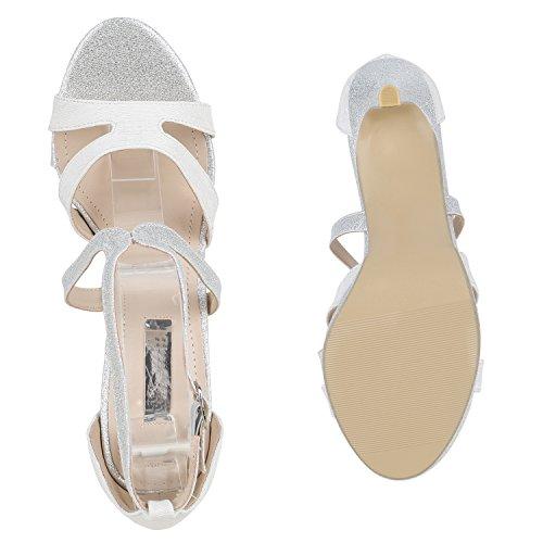 Stiefelparadies Damen Riemchensandaletten Strass Sandaletten Stilettos High Heels Party Schuhe Glitzer Lack Mid Heel Sandalen Flandell Silber Glitzer Schnalle