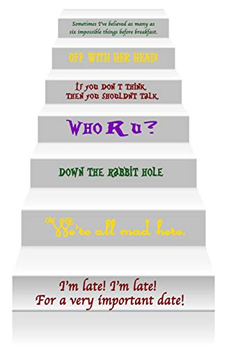 GMDdecals Alice In Wonderland Story Book Quote Set Vinyl Stair or Wall Decals [Yellow/Merlot/Green/Purple] by 24
