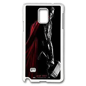 Galaxy Note 4 Case, Creativity Design Thor Movie Print Pattern Perfection Case [Anti-Slip Feature] [Perfect Slim Fit] Plastic Case Hard White Covers for Samsung Galaxy Note 4