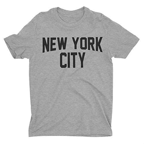 NYC FACTORY New York City Youth T-Shirt Screenprinted Gray Boys Lennon Tee (New York Youth T-shirt)