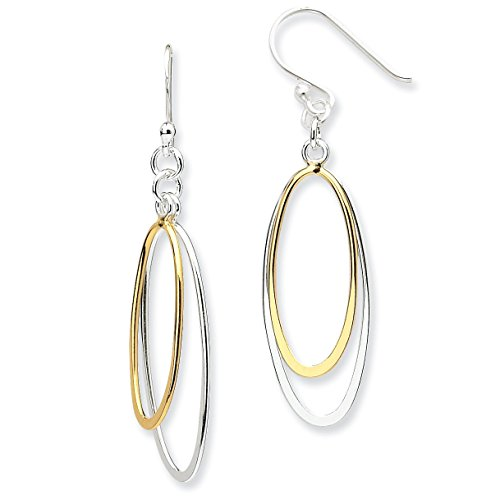 Sterling Silver Dangling Double Oval Earrings - (1.34 in x 0.71 in)