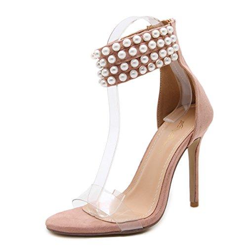 ZHZNVX La primavera y el verano, sandalias de súper lujo Pearl con zapatos Apricot pink