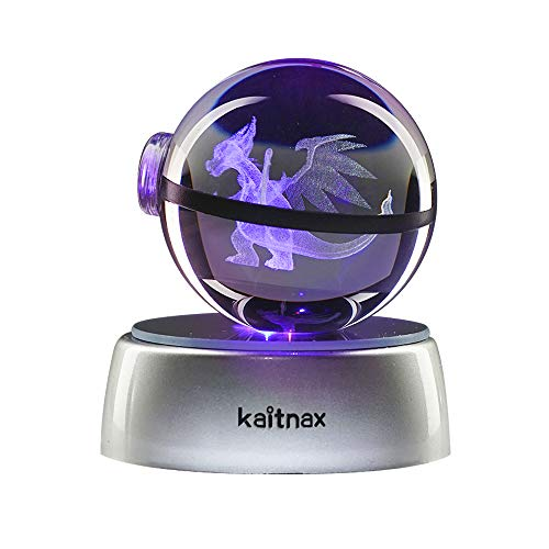 kaitnax 3D Laser Etched Crystal Ball(50mm) Puzzle with LED Base (Charizard)