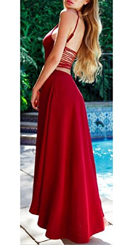 Halter Cocktail Women Jaycargogo Red Ruched Dress s Split Rose Party Long Sleeveless x4AARSX