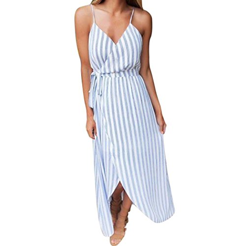 TOOPOOT Wome Summer Dress, Lady Sexy Floral Sexy Strapless Striped Bandage V-Neck Lace-up Irregular Sleeveless Dress Beach Long Ankle-Length Dress (M, Blue) - Tie Hem Strapless Dress