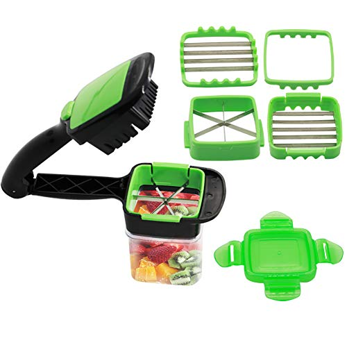 ASCENDAS Vegetables Cutter, 5 In 1 Fruits Cutter Chopper Slicer Column Egg Cutter Crusher Perfect for Kitchen Cooking Xmas New Year Dinner Party (Green)