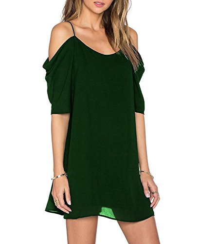 Women's Chiffon Cut Out Cold Shoulder Trumpet Sleeve Spaghet...
