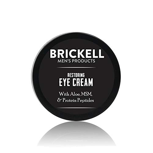 Brickell Men's Restoring Eye Cream for Men, Natural and Organic Anti Aging Eye Balm To Reduce Puffiness, Wrinkles, Dark Circles, Crows Feet and Under Eye Bags, .5 Ounce, Unscented Brown Anti Fatigue Dry Area