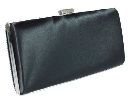Evening Sparkle Wedding Black Girly Hard Case Glitter Clutch Bag Diamante HandBags TaazqInZ
