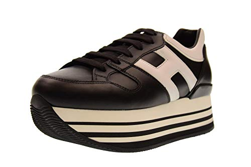 Hogan Basses HXW2830T548HQK0002 Baskets Blanc Chaussures Noir avec Plateforme H283 Femme TqATUxr
