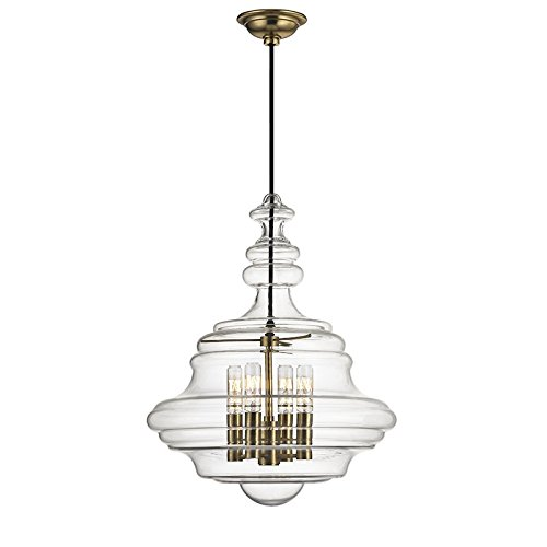 Washington 4-Light Small Pendant - Aged Brass Finish with Clear Glass Shade