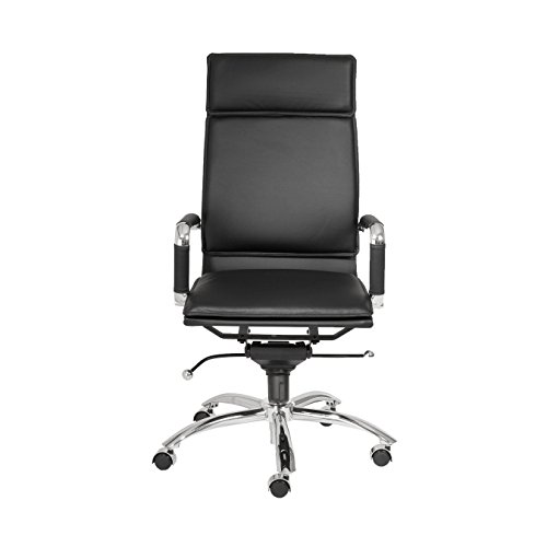 Euro Style Gunar Pro Adjustable Office Chair with Chromed Steel Base, High Back, Black