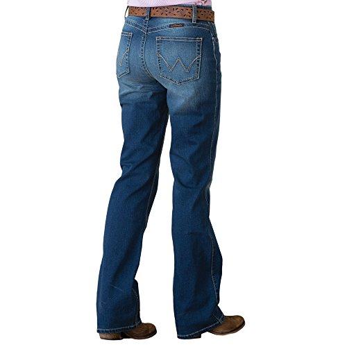 Wrangler Women's Retro Mae Mid-Rise Patch Jeans Boot Cut Indigo 3W x (Wrangler Mid Rise)