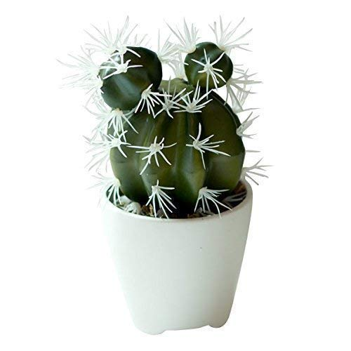 (Small Faux Cactus in White Three Legged Ceramic Planter - 3 x 6.5 Inches - Marmeda Decor Potted Artificial Desert Plant in Matte White Vase - Modern Southwest Decor for Home or Office)