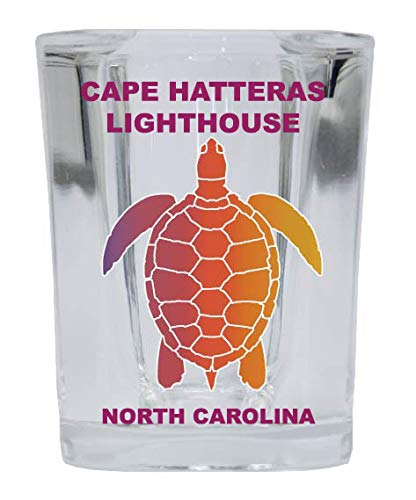CAPE HATTERAS LIGHTHOUSE North Carolina Square Shot Glass Rainbow Turtle Design