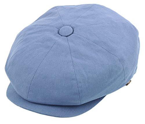 Deewang Mens newsboy Cotton Driving Cap, Light Weight Cabbie, Applejack Cap (Large, Indigo Blue)