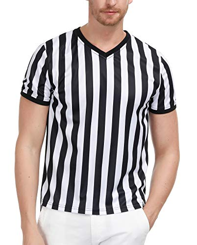 PAUL JONES Men's Short Sleeve Striped Referee Shirt Jersey Uniform, Wide Stripe, Small]()