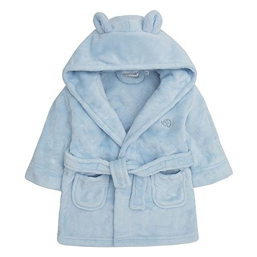- Baby Boys & Girls Unisex Dressing Gown (Ages 6-24 Months) Soft Plush Flannel Fleece Hooded Bath Robe (6-12 Months, Blue)