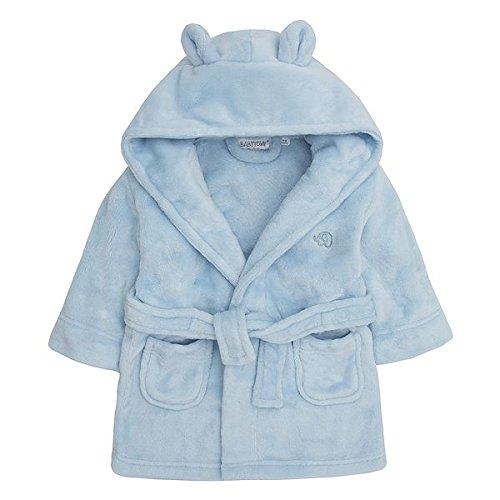 Baby Boys & Girls Unisex Dressing Gown (Ages 6-24 Months) Soft Plush Flannel Fleece Hooded Bath Robe Blue ()