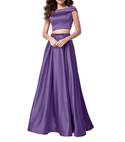 Linie mia Festlichkleider Violett Jugendweihe Ballkleider Partykleider A Promkleider Zwei Satin Abendkleider teilig Kleider Brau La zFdvHqxw44