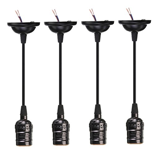 KINGSO 4 Pack E26 E27 Pendant Lamp Socket and Cord Screw Bulbs Edison Retro Hanging Lantern Holder with Wire Without Switch DIY Projects AC Power 110~220V - Black (Hanging Pendant Bulb Light)