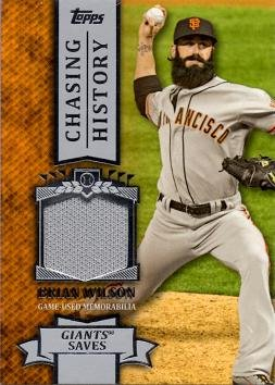 2013 Topps Chasing History Relics #CHR-BW Brian Wilson Game Worn Jersey Baseball Card