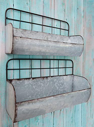 - ShabbyDecor Galvanized Metal Industrial Wall Storage Holder, Set of 2 Rustic Tin Shelves