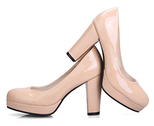 YE Damen Chunky Heels Lack Pumps mit Blockabsatz High Heel Plateau Work Office Kleid Schuhe Beige