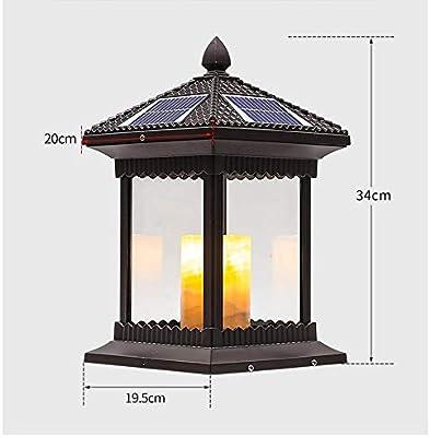 Las luces del jardín Columna de la lámpara del paisaje impermeable al aire libre Patio retro de la lámpara de la linterna de aleación de aluminio a distancia del faro Columna de