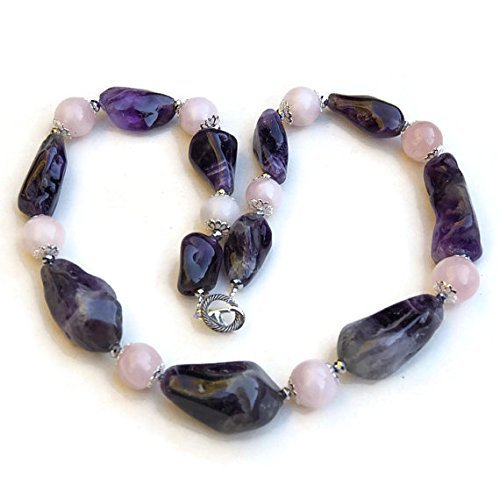 Semi Precious Nuggets (Massive Purple and Pink Statement Necklace, Big Bold Chunky, Natural Semi Precious Stone Nuggets, Amethyst Rose Quartz)