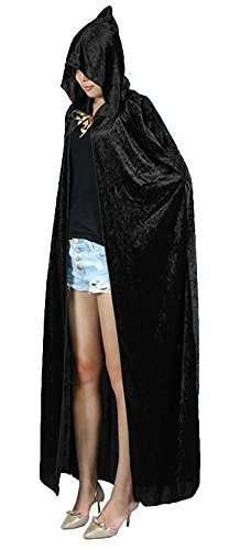Urban CoCo Women's Costume Full Length Crushed Velvet Hooded Cape (Black)
