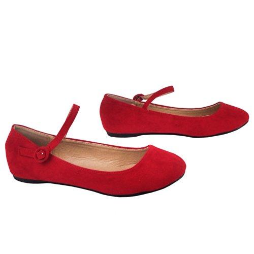 Doby-4 Mujer Mary Janes Flats Slip On Zapatos Bailarina Correa Sandalias De Punta Redonda Colores Snj Shoes Rojo