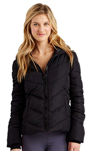 Aeropostale Womens Hooded Puffer Jacket (Small, Black) (Aeropostale Puffer Jacket)