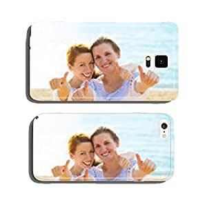 Joyful mother daughter showing thumbs up having fun on beach cell phone cover case Samsung S5