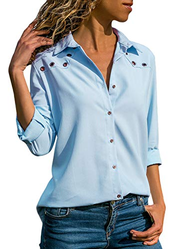 (Lovezesent Plus Size Fashion Ladies Long Sleeve Button Up Casual Loose Chiffon Tops Shirts and Blouses for Women for Work Light Blue XL )