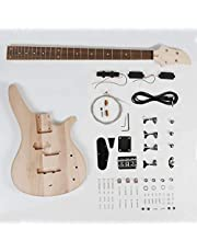 Leo Jaymz DIY Electric Bass Guitar Kits - Mahogany Body, Maple Neck and Rosewood Fingerboard - Fully Components Included ((LB) photo