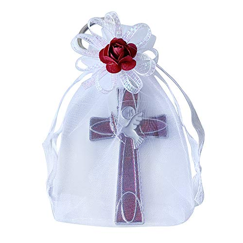 12 Pcs Cross and Dove Key Ring in Decorated Organza bag - Confirmation Favor / Holy Spirit Keychain